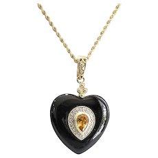 Lady's Vintage Art Deco 14K Onyx, Citrine & Diamond Heart Shaped Pendant