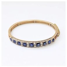 Lady's Antique Victorian 14K Sapphire & Diamond Bangle Bracelet
