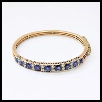 Lady's Antique Victorian 14K Sapphire & Diamond Bangle Bracelet