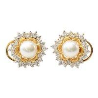 Vintage Lady's 18K Akoya Cultured Pearl & Diamond Earrings
