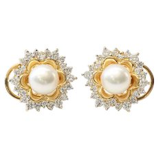 Vintage Lady's 18K Akoya Cultured Pearl & Diamond Earrings