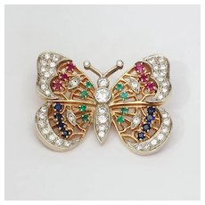 Lady's Vintage Custom 14K Diamond & Multigem Butterfly Brooch