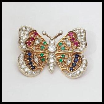 Lady's Vintage Custom 14K Diamond & Multigem Butterfly Brooch