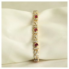 Lady's Vintage Custom 18K Ruby & Diamond Bracelet