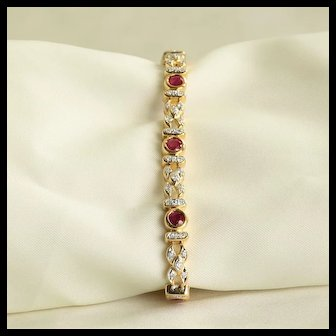 Lady's Vintage Custom 18K Ruby & Diamond Bracelet