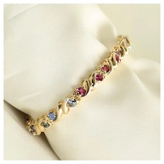 Lady's Vintage Custom 14K Faceted Multi-Colored Gem Stone Bracelet