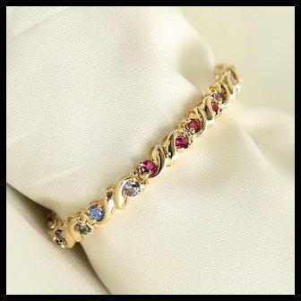 Lady's Vintage Custom 14K Faceted Multi-Colored Gem Stone Bracelet