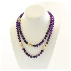 Vintage Art Deco Lady's 40 inch Amethyst & 14K Bead Necklace