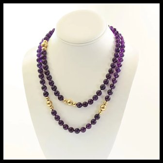 Vintage Art Deco Lady's 40 inch Amethyst & 14K Bead Necklace
