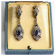 Antique Edwardian 14K & Silver Sapphire Earrings