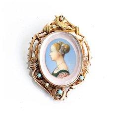 Antique Museum Quality Circa 1840 14K Portrait Brooch