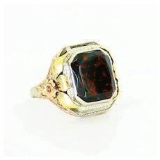 Art Deco Lady's 14K Bloodstone Ring
