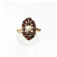 Lady's Circa 1900 10K Garnet & Pearl Ring