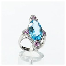 Lady's Custom 14K Topaz, Spinel & Diamond Ring
