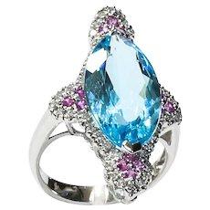 Lady's Custom 14K Topaz, Spinel & Diamond Ring