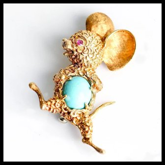 Vintage 18K Sgn. Shreve & Co. Italy Persian Mouse Brooch