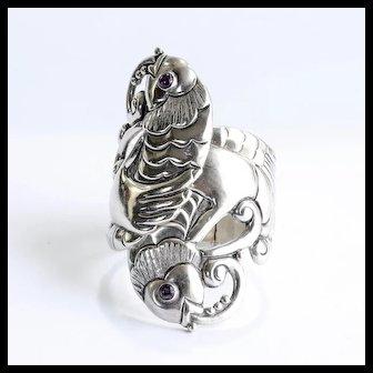 Circa 1940's Sterling Mexican Fish Motif Sgn. J.Gomez Clamper Bracelet