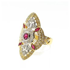 Lady's Custom Vintage 18K Ruby & Diamond Ring