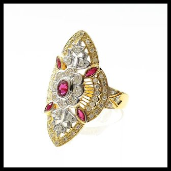 Lady's Custom Vintage 18K Ruby & Diamond Ring