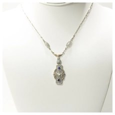 Circa 1920's Lady's Art Deco 14K Tricolored Diamond & Sapphire Pendant
