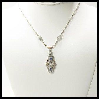 Circa 1920's Lady's Art Deco 14K Tricolored Diamond & Sapphire Pendant