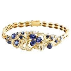 Lady's Vintage Custom 14K Diamond & Sapphire Bracelet