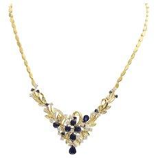 Exceptional Vintage Lady's Custom 14k Sapphire & Diamond Necklace