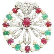 Vintage Lady's Custom 18K Diamond, Ruby & Pearl Brooch