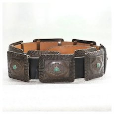 James Shay Vintage Navajo Sterling Silver & Turquoise Concho Belt