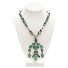 Rare Navajo Malachite & Silver Squash Blossom Necklace