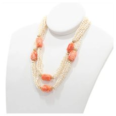 Lady's Vintage 14K Coral & Cultured Pearl Necklace