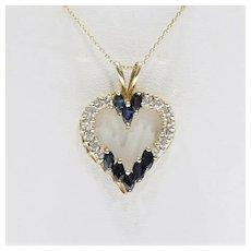 Lady's Vintage 14K Diamond & Sapphire Heart Pendant