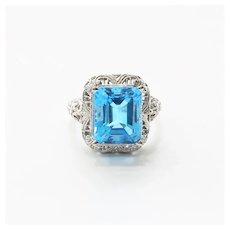 Lady's Custom 14K 8 Carat Topaz Ring