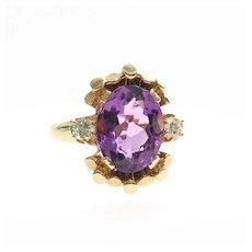 Lady's Vintage 14K Amethyst & Diamond Ring