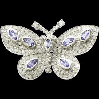 Lady's Vintage 10K Diamond & Tanzanite Butterfly Brooch