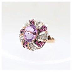 Lady's Vintage 10K Amethyst, Diamond & Ruby Ring