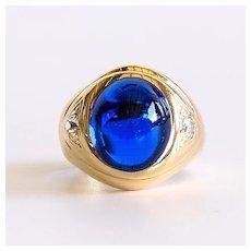 Gent's Vintage 14K Blue Spinel & Diamond Ring