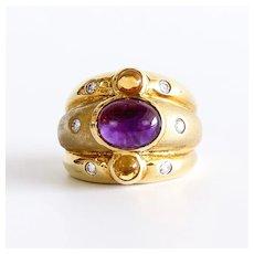 Lady's Vintage 18K Amethyst, Citrine & Diamond Ring