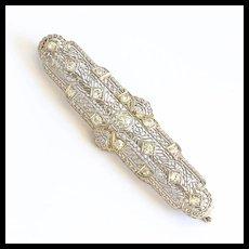 Circa 1910 Edwardian 14K Diamond Bar Brooch
