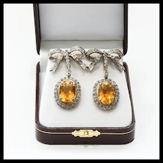 Lady's Antique Gold Diamond & 15 Carat Citrine Earrings