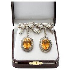 Lady's Antique Gold Diamond & 15 Carat Citrine Earrings
