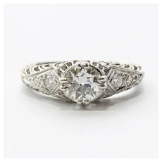 Ladies Platinum Art Deco Diamond Engagement Ring