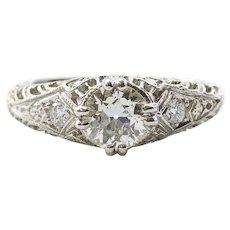 Ladies Platinum Art Deco Diamond Engagement Ring