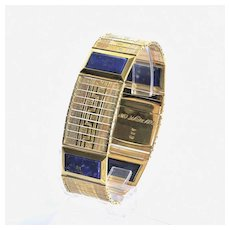 Magnificent Art Deco 18K Lapis & Multi-Colored Gold Bracelet
