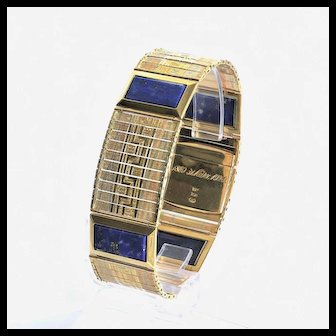 Magnificent Art Deco 18K Lapis & Multi-Colored Gold Bracelet