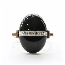 Lady's Vintage 10K Art Deco Onyx & Diamond Ring