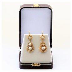 Circa 1890 Antique 14K Pearl Earrings