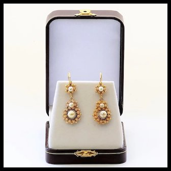 Circa 1890 Antique 14K Pearl Earrings
