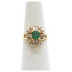 Vintage Lady's 18K Emerald & Diamond Ring