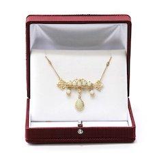 Lady's Circa 1900 Antique 14K Opal Necklace